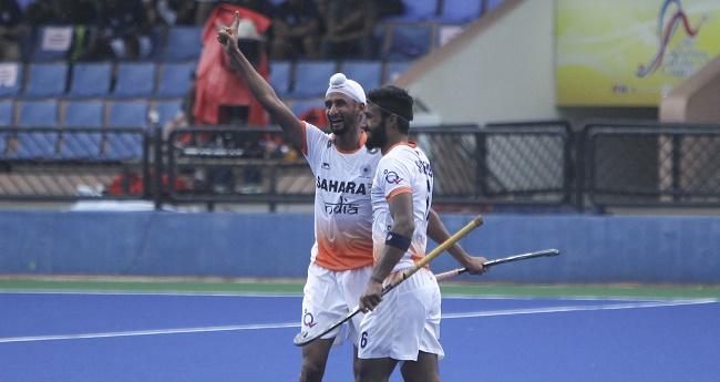 Sultan Azlan Shah Tournament 2017: Mandeep Singh celebrating his goal with Surender Kumar