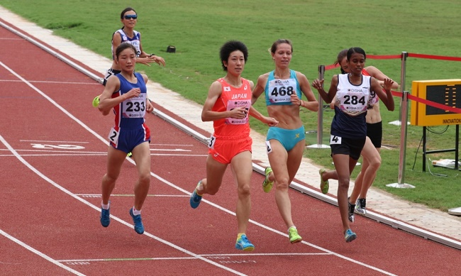 India's Chitra P U finished second in the Heat 2 of the Women's 1500m run