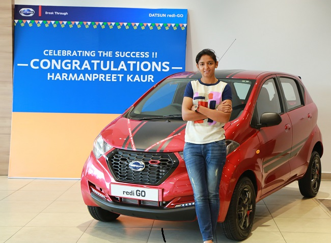 Harmanpreet Kaur presented with a Datsun redi-GO  for cricket feats in ICC Women's Championship 2017