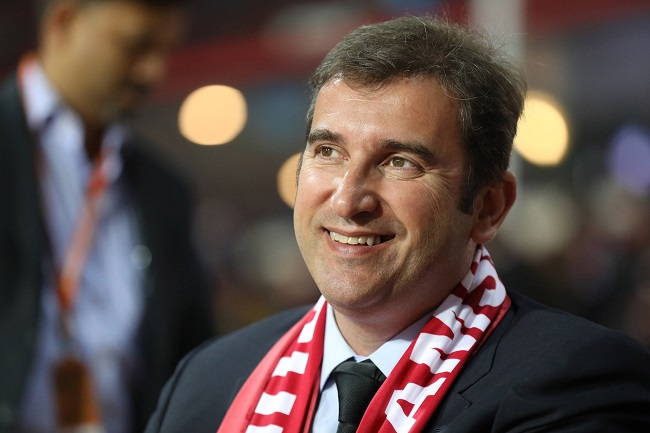 Manchester City CEO Ferran Soriano at Jamshedpur during ISL's Jamshedpur FC vs Mumbai City FC game on Friday